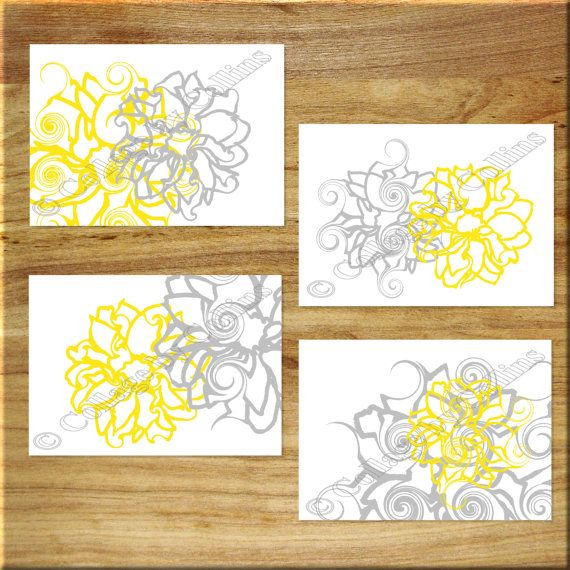 Yellow Gray White Floral Flower Wall Art Prints Simple Curlicue ...