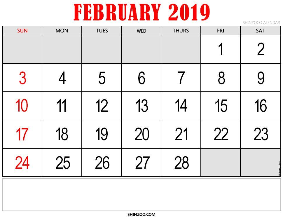 February 2020 Calendar Shinzoo Printable Calendar For February 2019   150+ February 2019 Calendar