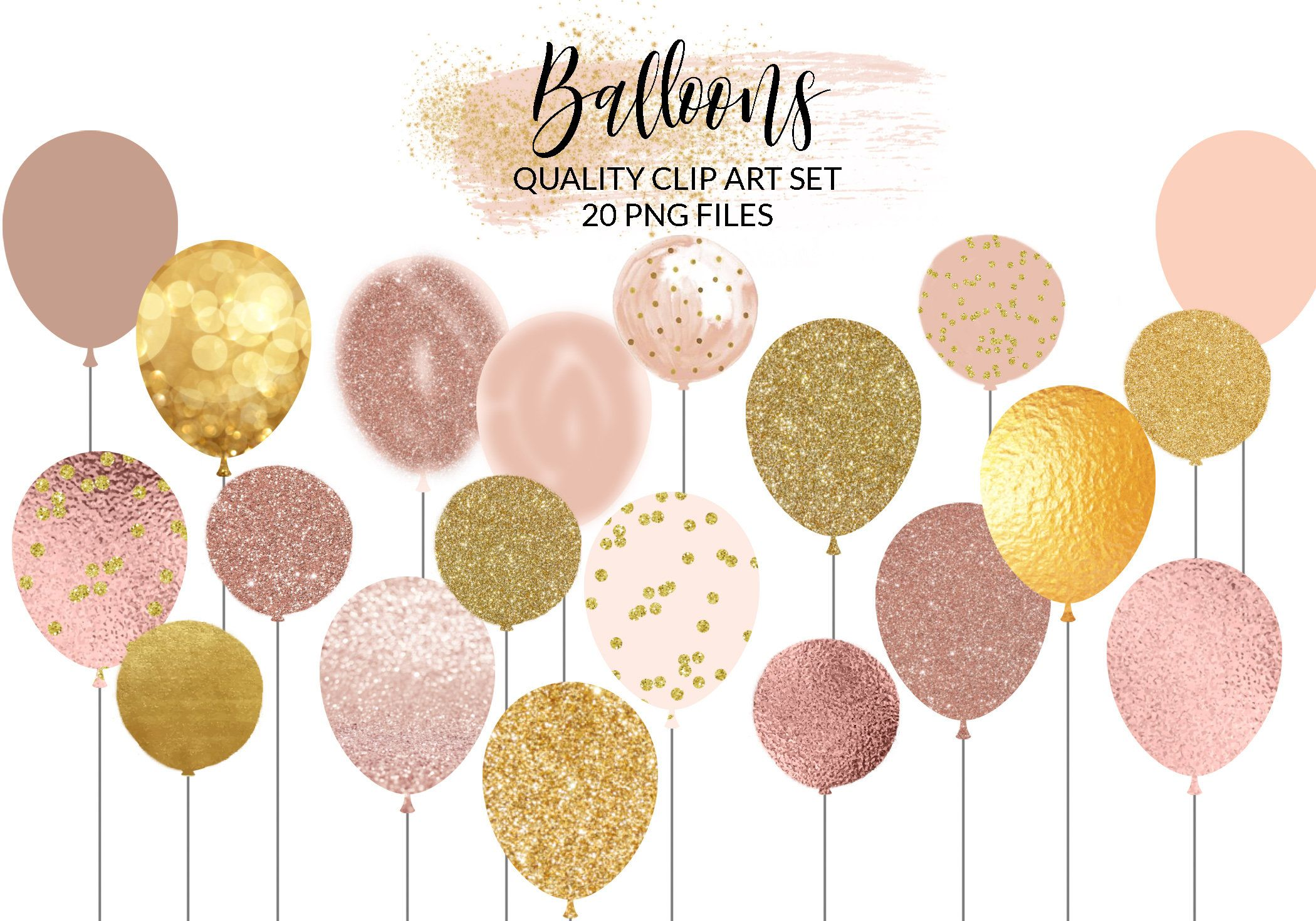 Rose Gold Balloons Clipart Glitter Balloons Clip Art Foil Balloon Png Pastel Balloons Party Baby Shower Clipart Free Commercial In 2021 Glitter Balloons Balloon Clipart Balloons