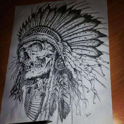 021213286db8c chief tattoo indian skull on Instagram | owl tatoo | Indian skull ...
