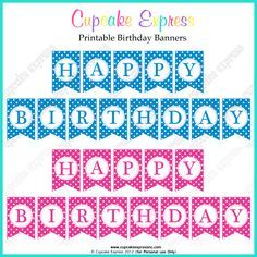 free printable happy birthday banners pink blue jant pinterest