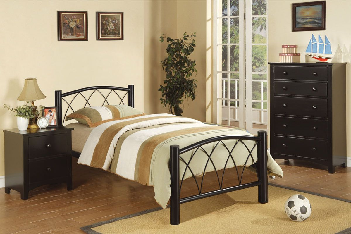 Bedroom Small Black Iron Twin Size Bed Frame With
