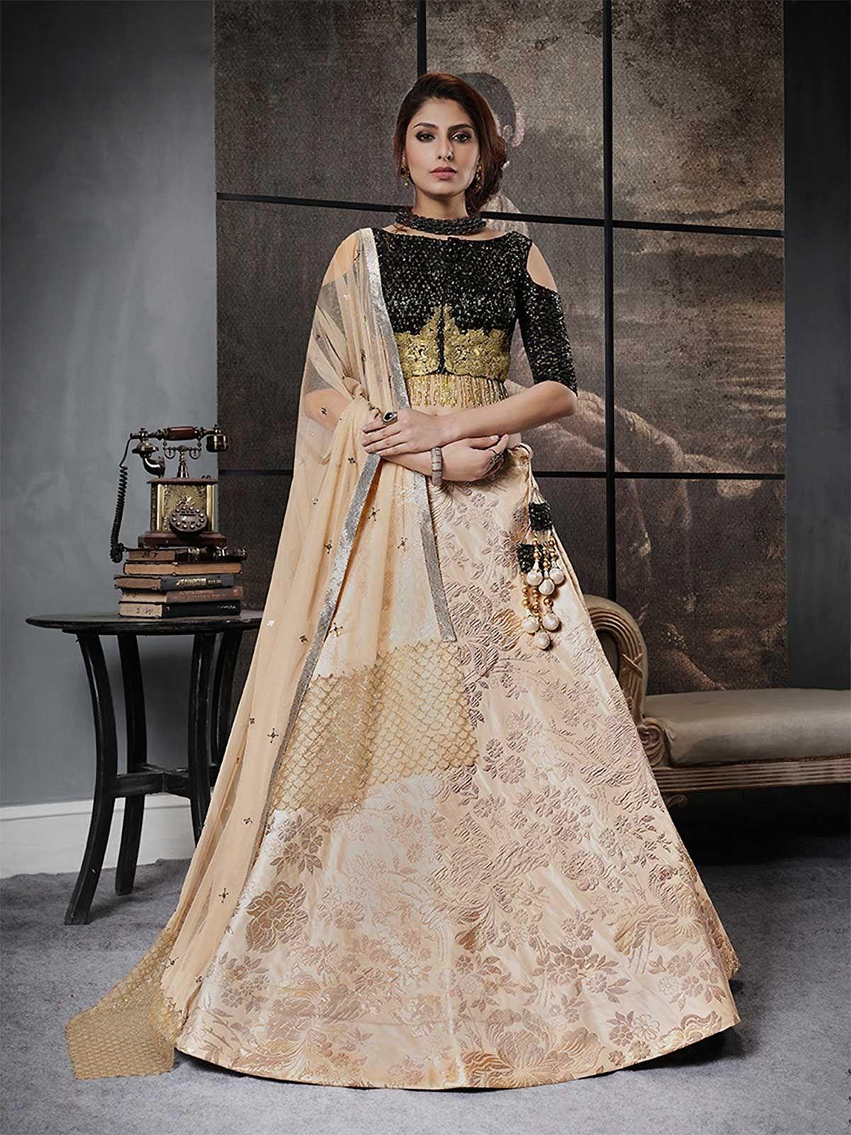 ec271123b5 Buy new beautiful beige lehenga choli online women ethnic wear from  ZaraaFab online shopping store UK. Shop wide range of adorable designer  lehenga choli ...