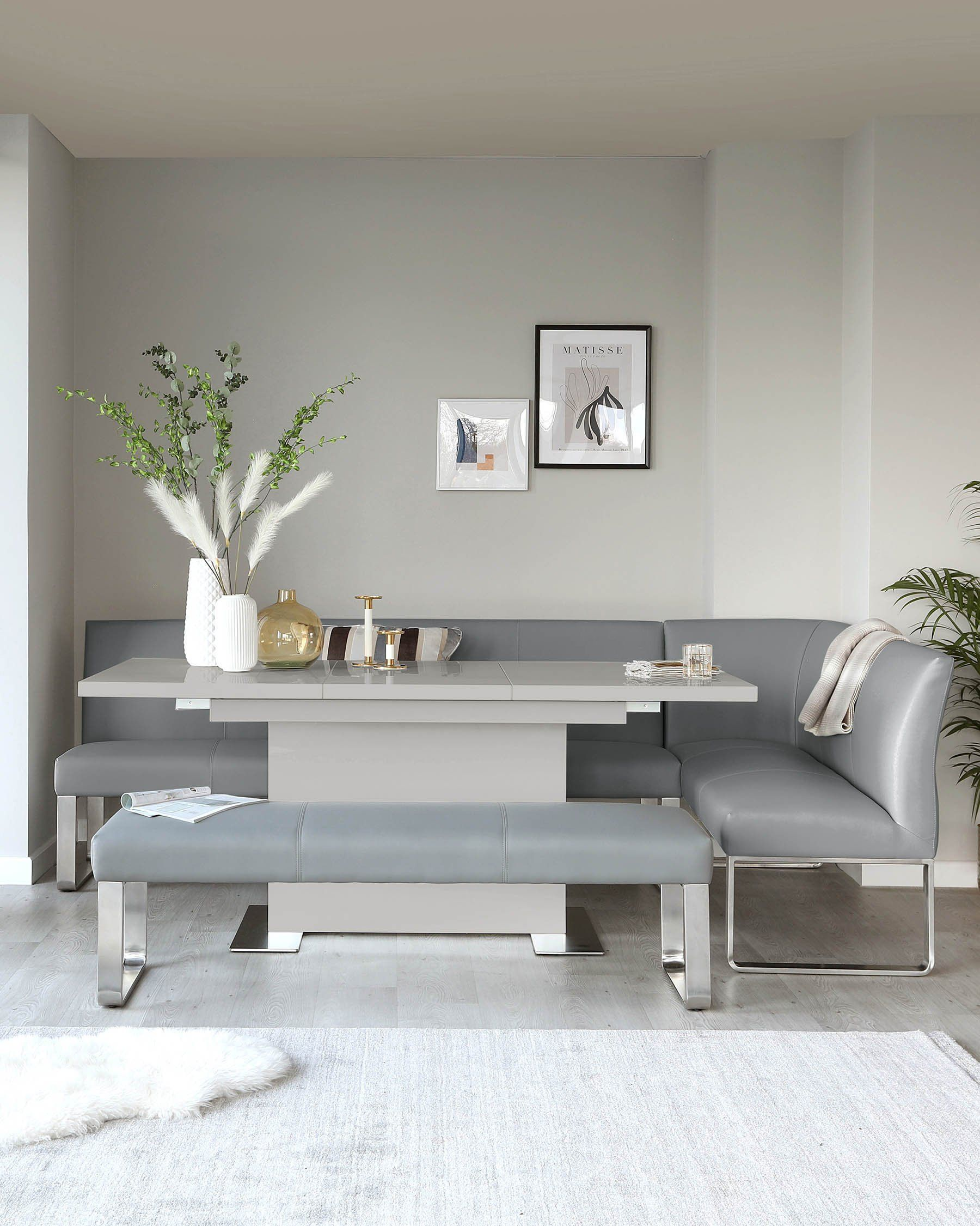 Danetti Sanza Grey Gloss And Loop 7 Seater Left Hand Corner Bench Dining Set
