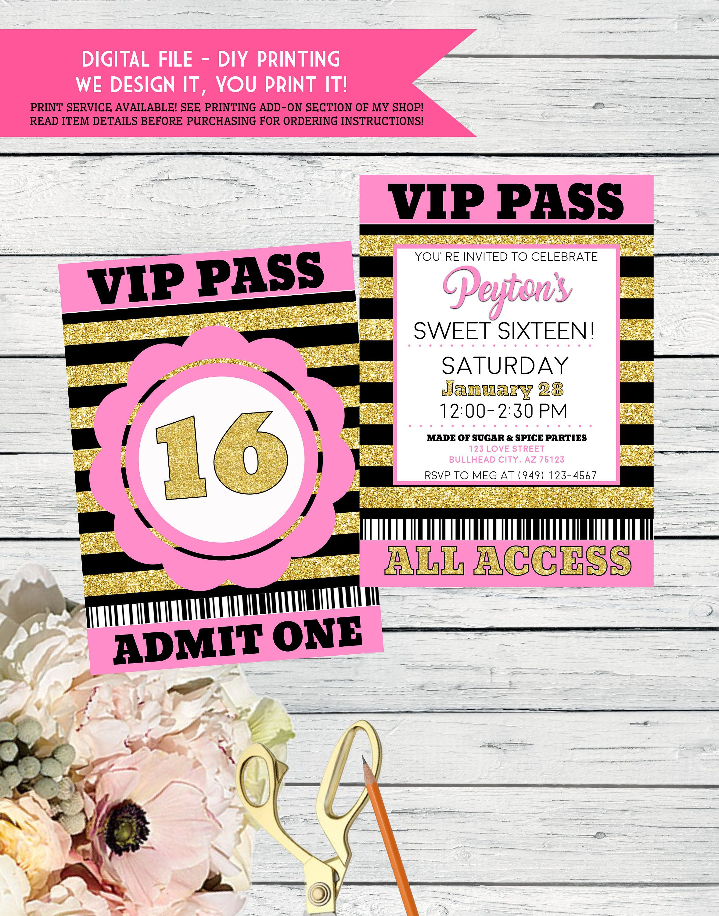 VIP Party Pass Sweet Sixteen Pink And Gold Glitter Or Any Age Personalized Birthday Invitation Digital File Vip Glam 16 By EmmaSueBowtique On