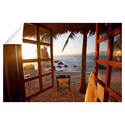 beach view from resort window Wall Decal