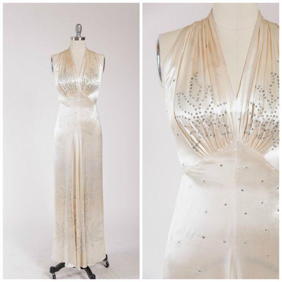 Vintage 1930s Dress • Screen Siren • Cream Slipper Satin Bias Cut ...
