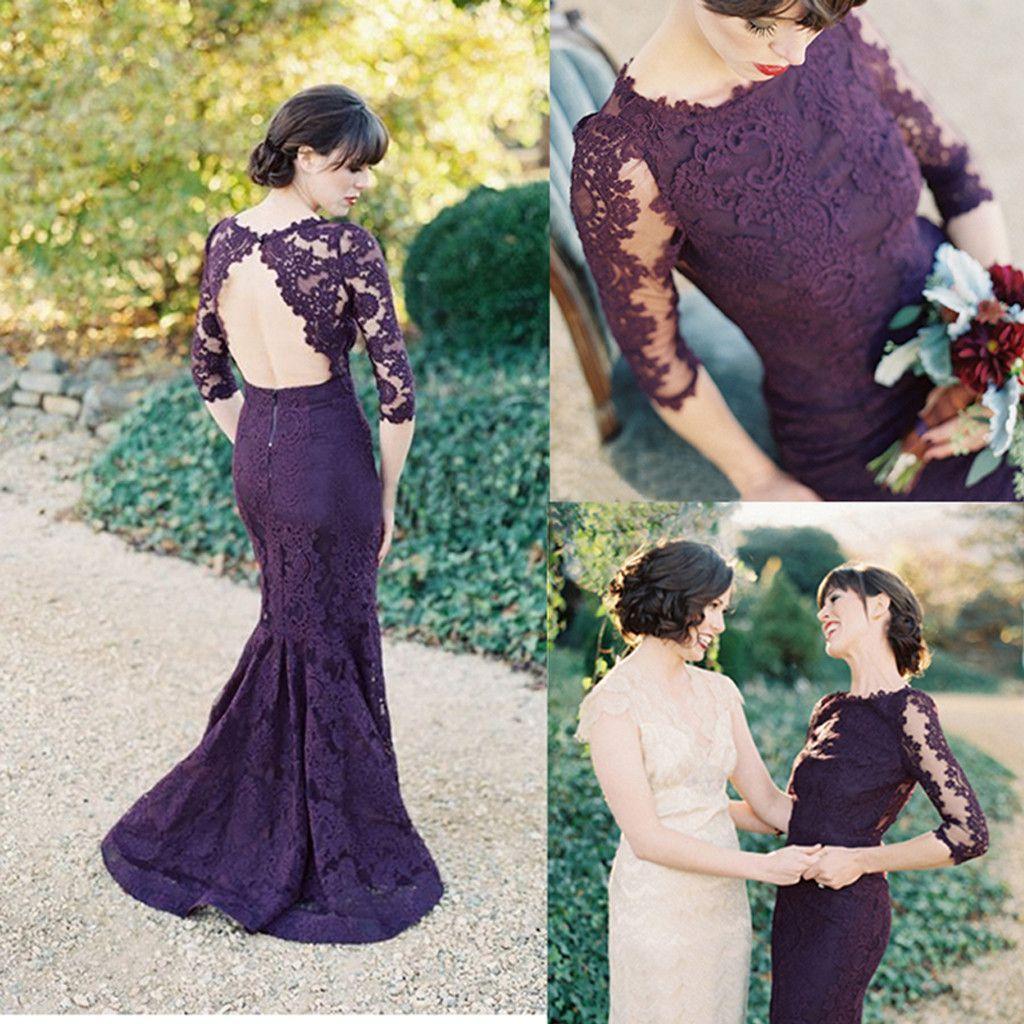 Long sleeve open back sexy mermaid purple cheap prom dress pretty