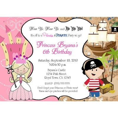 Princess and pirate party digital invitation pirate and princess shop princess and pirate birthday party invitation created by printabledigidesigns filmwisefo Choice Image