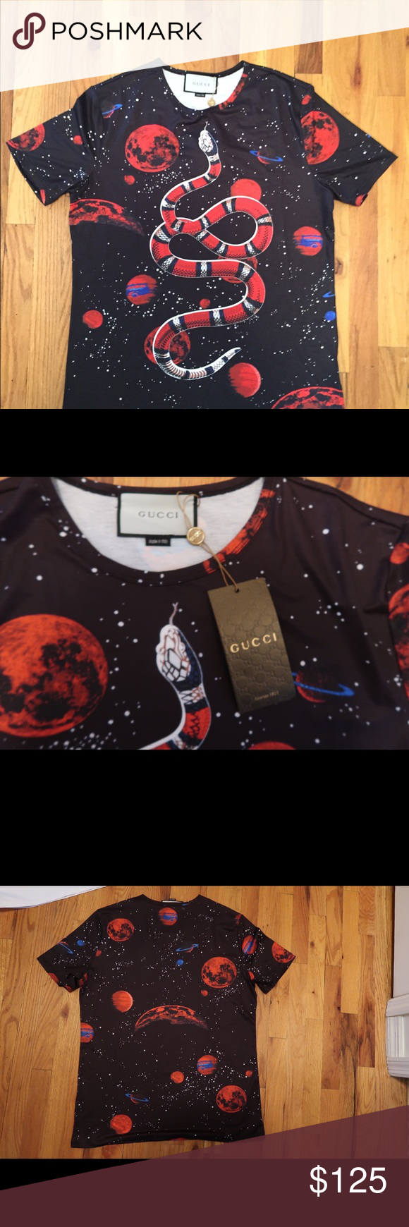 76ec8a072 Gucci Space Snake Tee Size Large. New With Tags. Black With Graphics Shirts  Tees - Short Sleeve