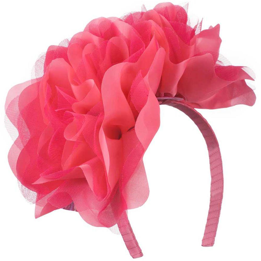 2 Large Soft Flowers with Netting Headband - Watermelon
