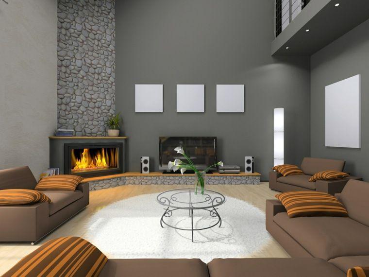 chemin e moderne 60 id es de d coration d 39 int rieur. Black Bedroom Furniture Sets. Home Design Ideas