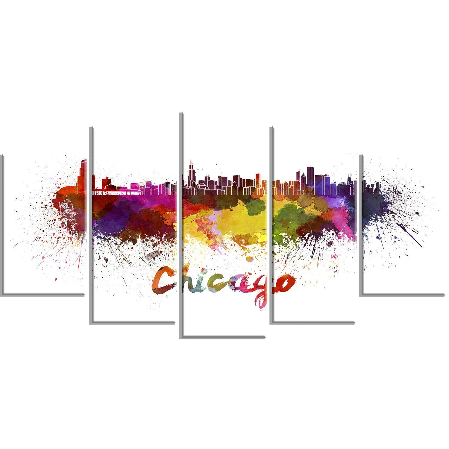 Chicago Skyline Cityscape 5 Piece Graphic Art on Wrapped Canvas Set