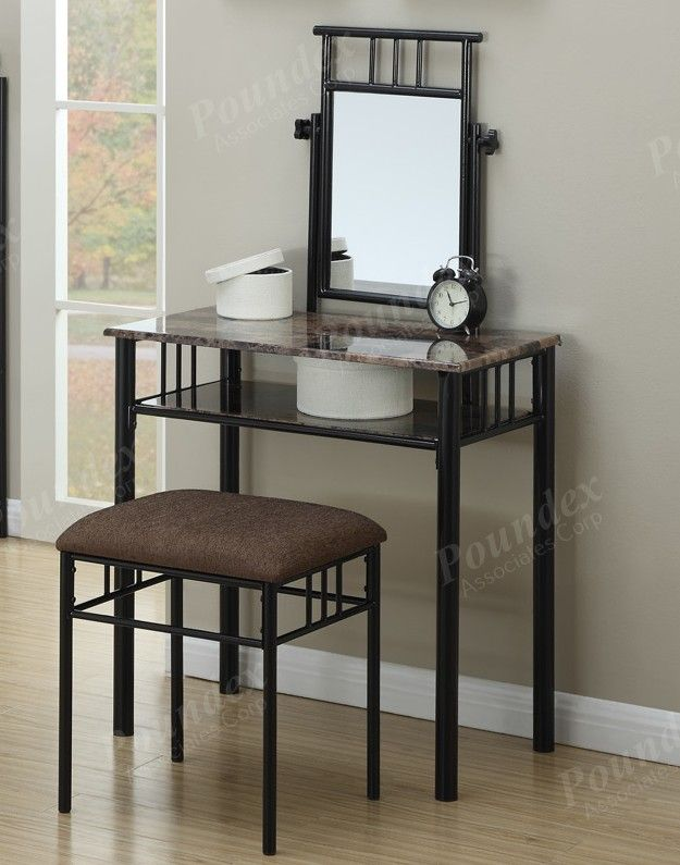 3 Pc Janice Collection Black Metal Frame Faux Marble Top