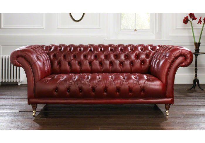 Burgundy Leather Chesterfield Sofa.
