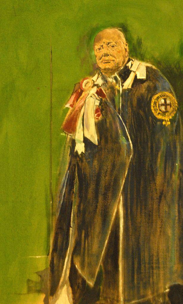 Amazon Com Photo Sir Winston Churchill Smoking Cigar Painting