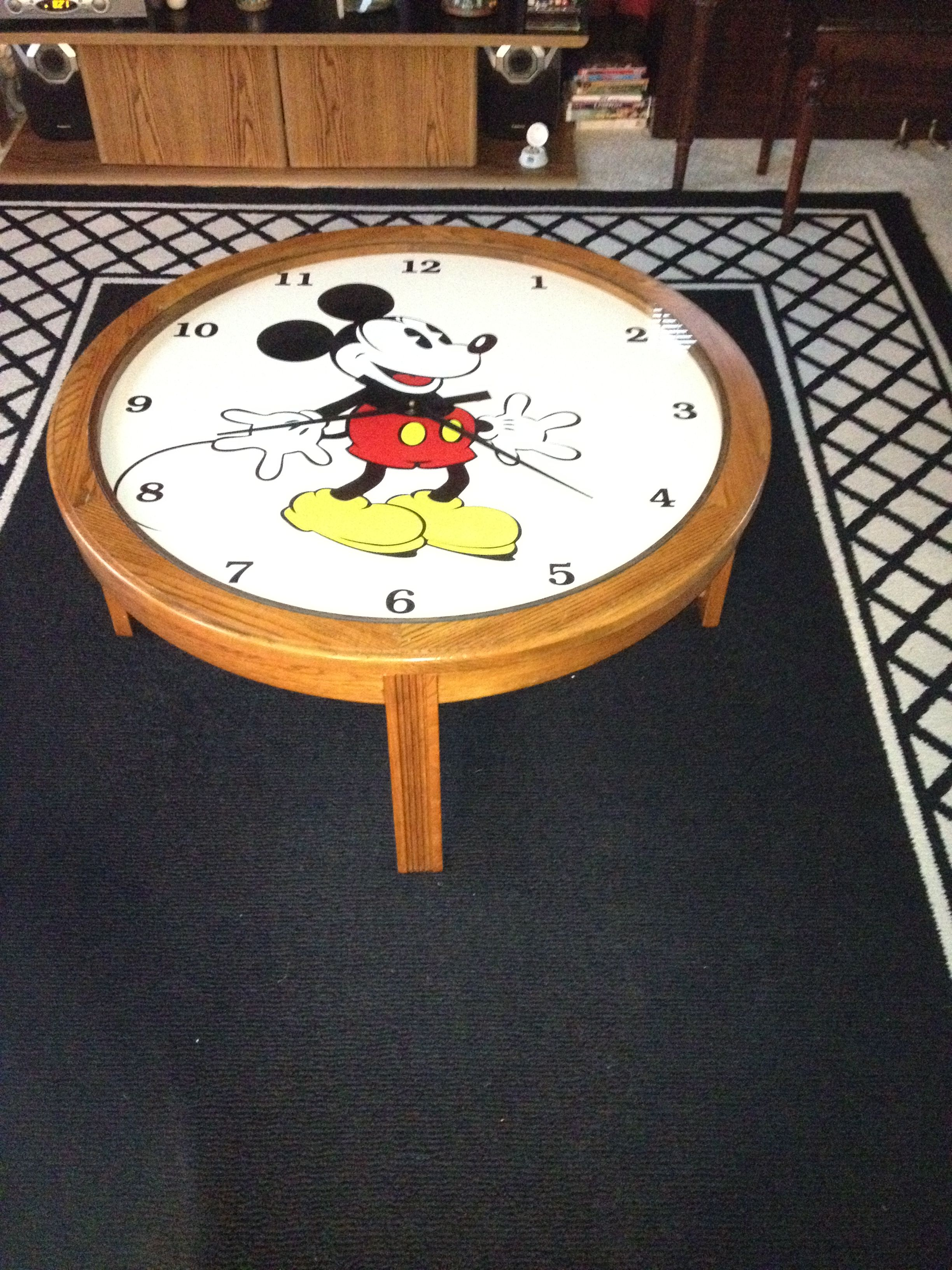mickey mouse working clock coffee table   the mouse house