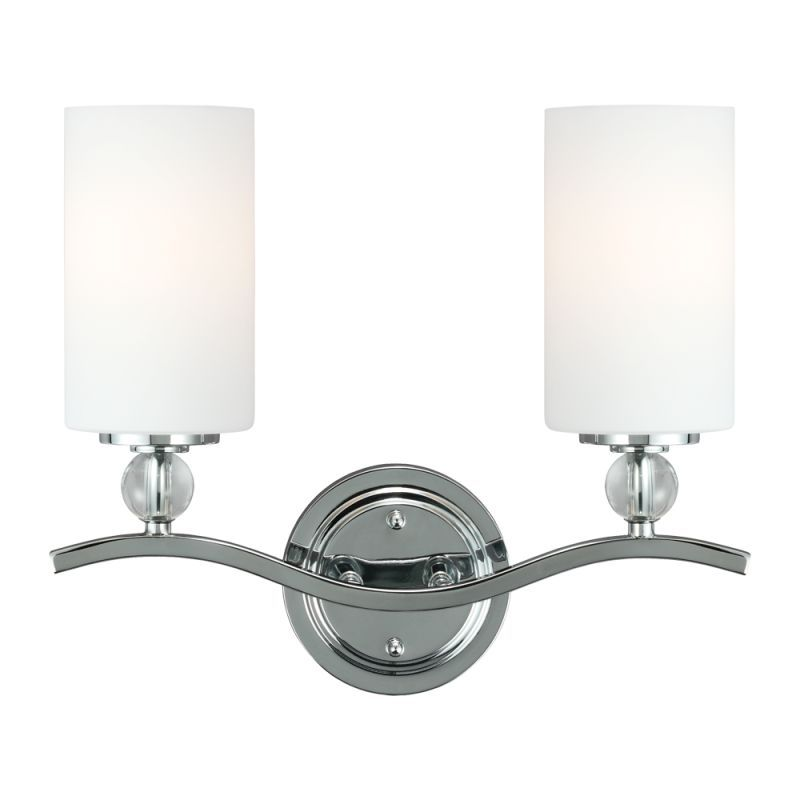 Sea gull lighting 4413402 englehorn 2 light bathroom vanity light chrome optic crystal indoor lighting