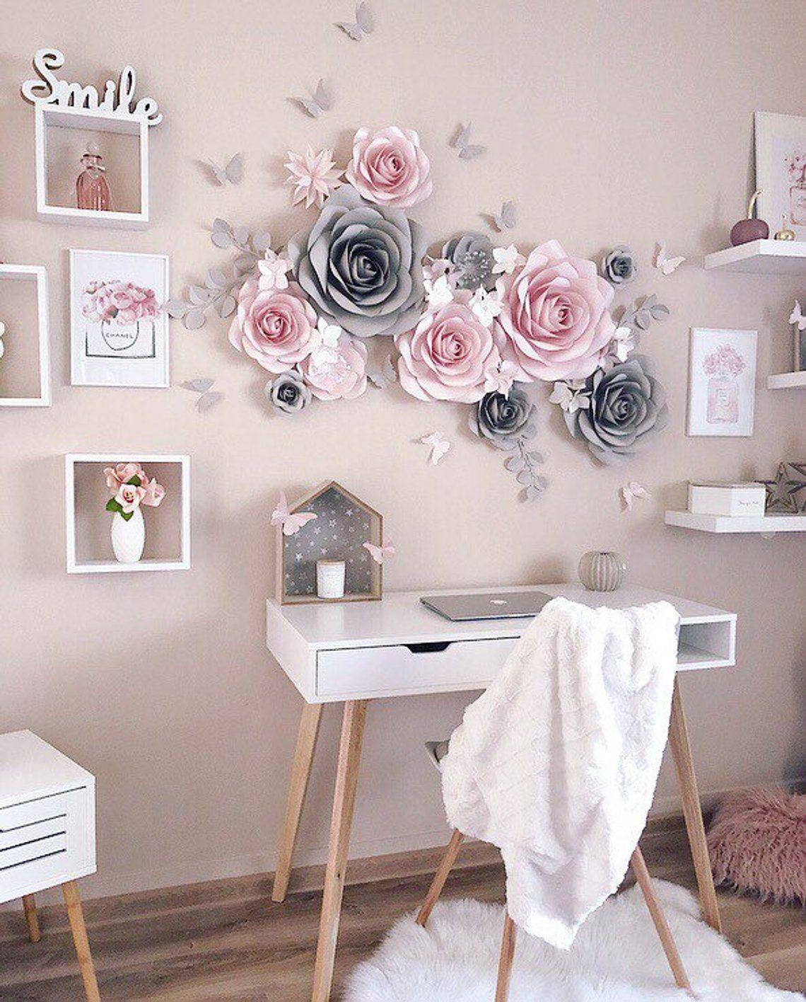 Nursery Paper Flowers Wall Decoration Paper Flower Decor Blush