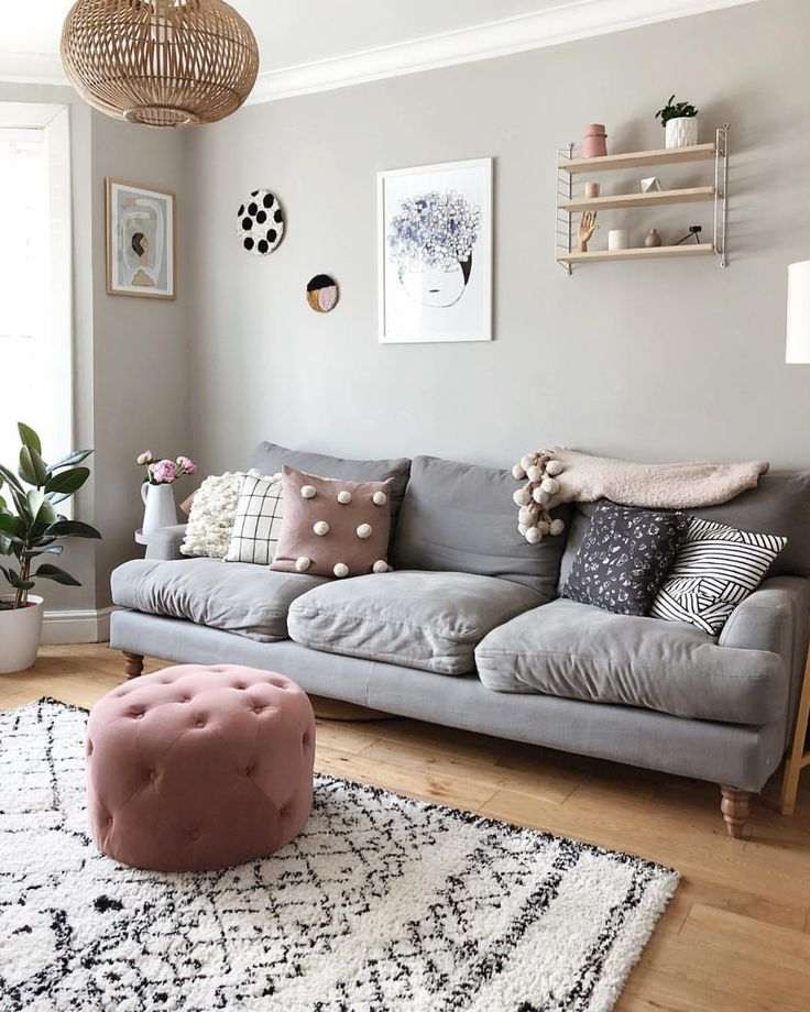 Photo of Living room, farrow and ball pavilion gray, scandi style with pink accents