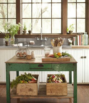 Farmhouse Style - love the introduction of the emerald green with all the warm whites and wood tones