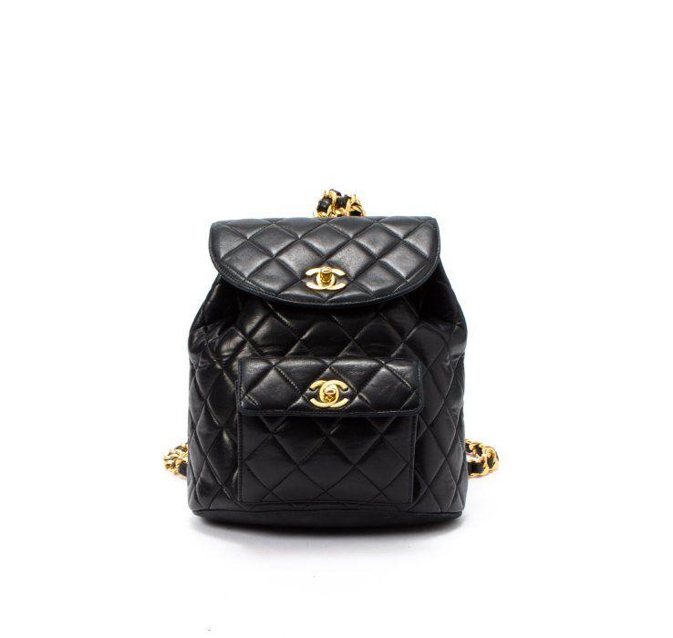 Chanel black lambskin matelasse vintage backpack  25e7b77a251ee