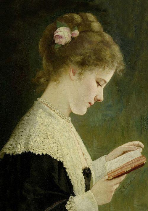 Girl reading - Ernst Anders (1845 - 1911)