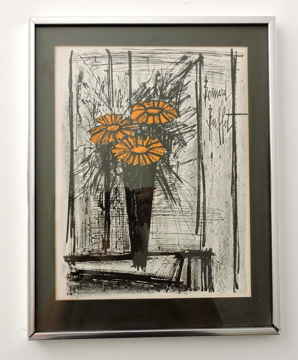 Astounding Signed Bernard Buffet Lithograph Orange Flowers Framed Download Free Architecture Designs Lectubocepmadebymaigaardcom