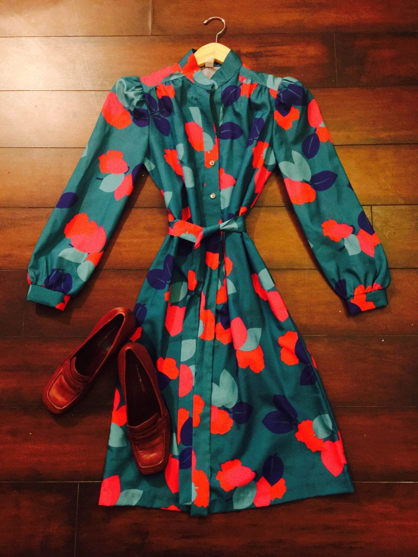 Vtg hipsteter teal floral preppy secretary simple us shirt dress