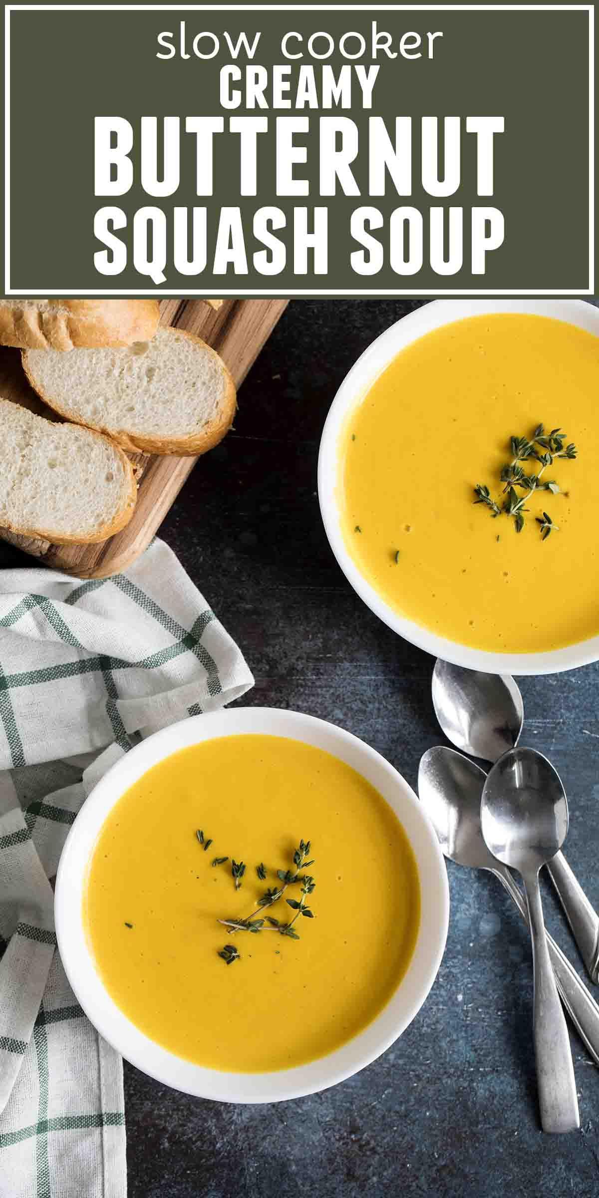 Slow Cooker Creamy Butternut Squash Soup #butternutsquashsoup