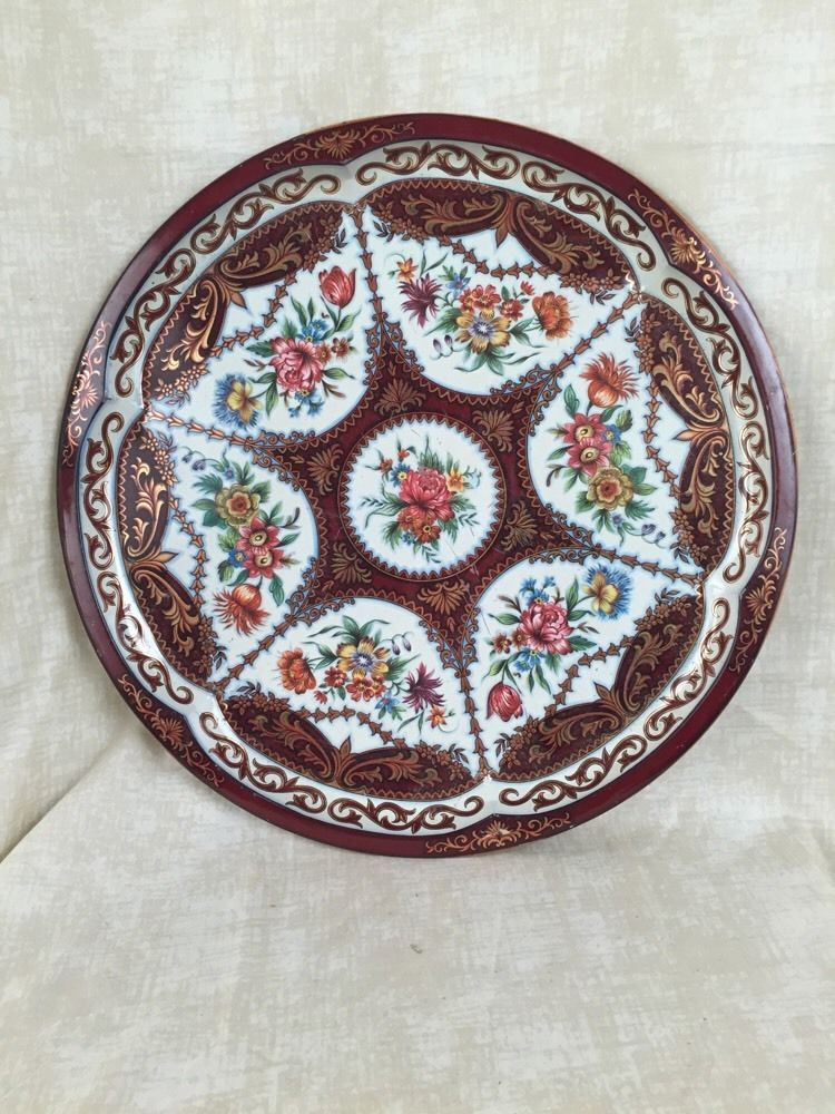 """Daher Decorated Ware Tray Made In England Daher Decorated Ware Large 16 5"""" Floral Metal Serving Tray Made In"""