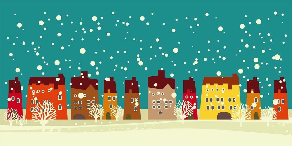 フリーイラスト素材 イラスト 風景 建築物 建造物 家 住宅 雪