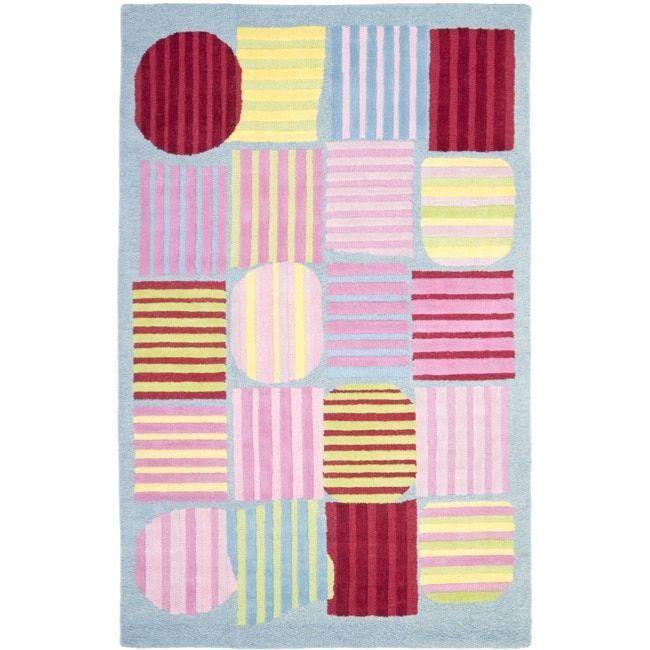 Safavieh Handmade Children S Stripes Light Blue N Z Wool Rug 4