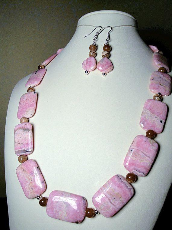Rhodochrosite pretty in pink gemstones necklace