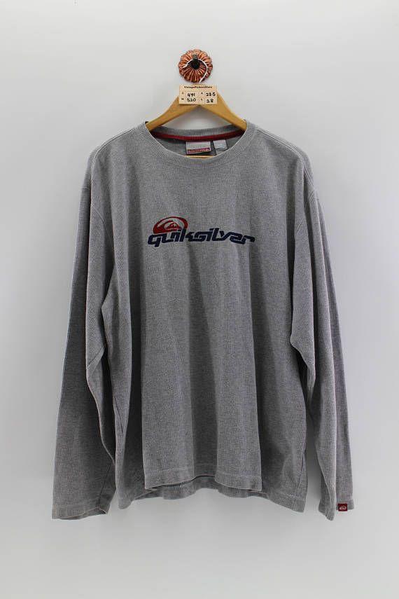 Vintage 90's QUIKSILVER Pullover Shirt Large Men Quiksilver Surfing Spell Out Crewneck Long Sleeves Roxy Usa Sportwear Grey Tee Men Size L 0rlQTc77c