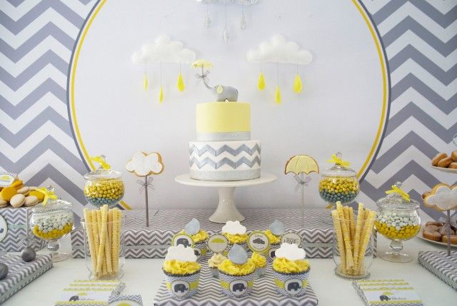 Yellow And Grey Elephant Baby Shower Baby Shower Yellow Grey