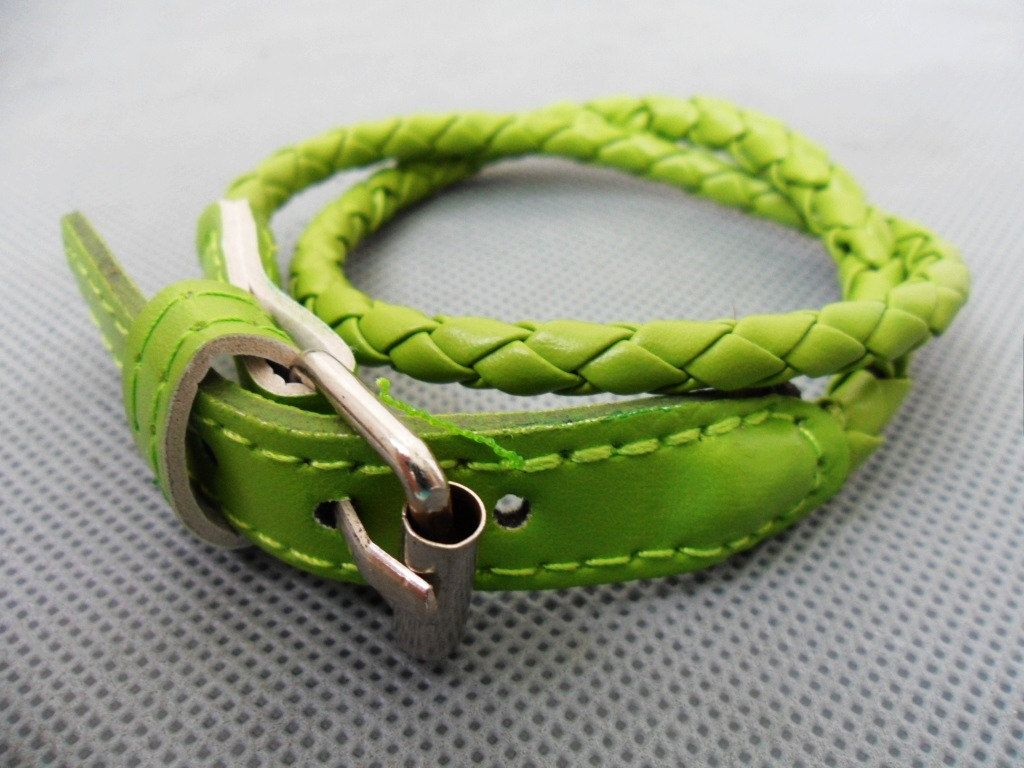 Easter gift adjustable green leather woven by sevenvsxiao on etsy