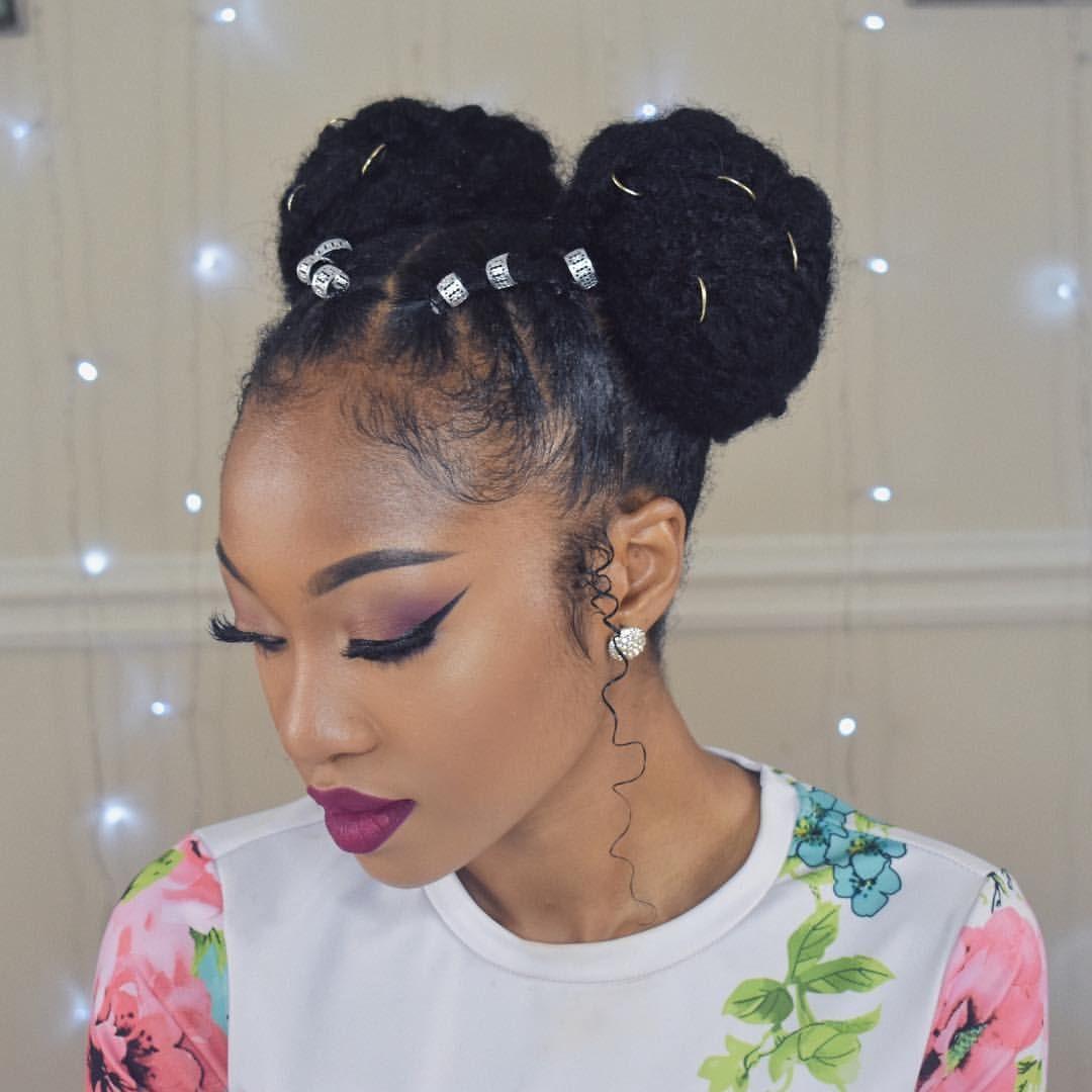 Spice Up Your 2 Bunnnns Hairdo Buns Natural Hair Styles Natural Hair Bun Styles Hair Styles