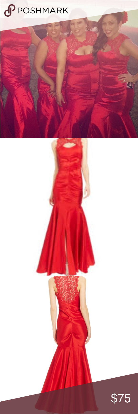 Prom or Bridesmaids dress | Xscape dresses, Red glitter and Lace mermaid