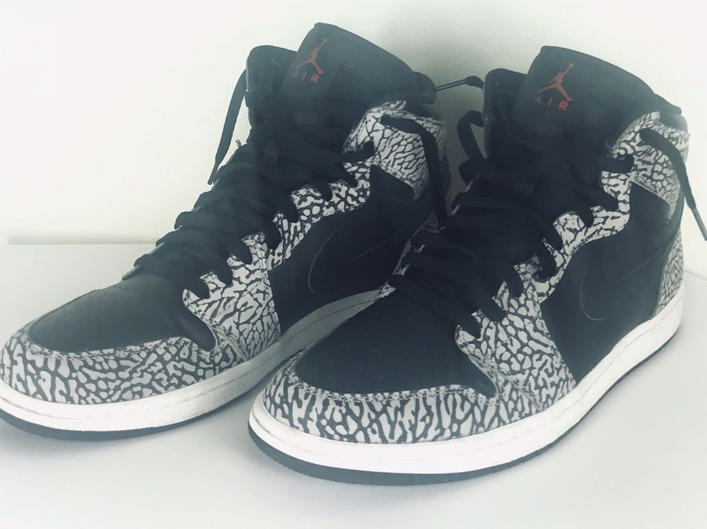 99171ab7debc84 Nike Air Jordan 1 Retro High sz 12 Unsupreme Black Elephant Cement 839115- 013