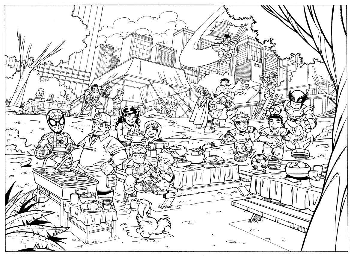 Dario Bruzuela - super hero coloring poster | Kids stuff | Pinterest ...