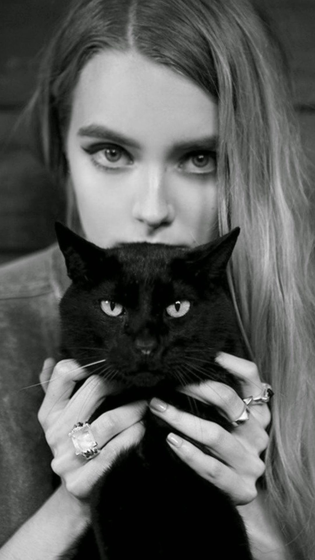 Iphone 6 wallpaper tumblr girl - Blonde Girl With Black Cat Iphone 6 Plus Wallpaper