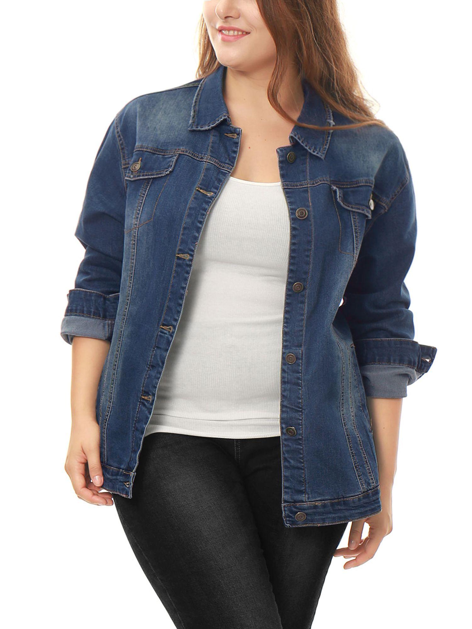 Unique Bargains Women S Plus Size Long Sleeve Button Front Washed Denim Jacket Walmart Com Denim Jacket Women Denim Women Womens Black Jacket [ 2000 x 1500 Pixel ]