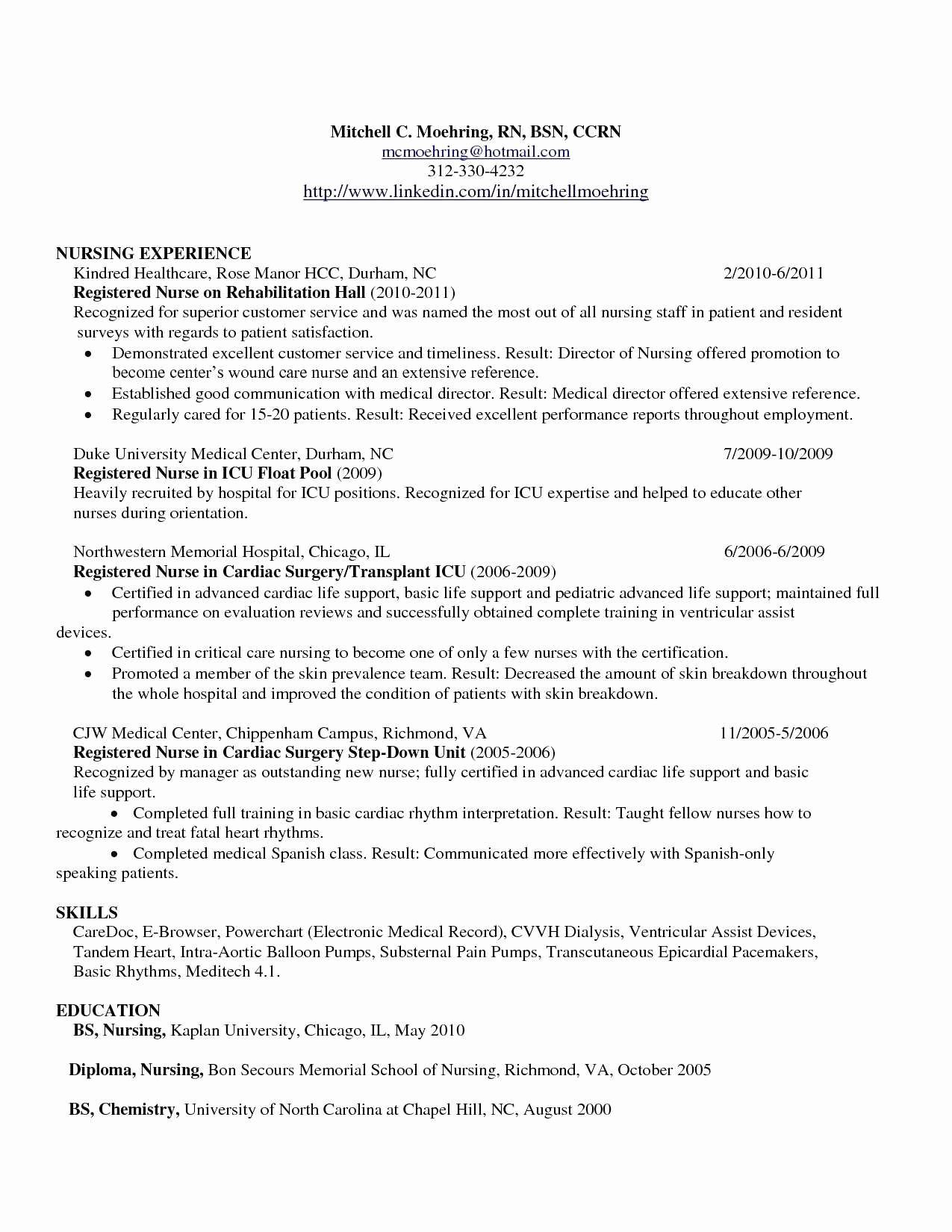 Nursing Action Plan Elegant Resume Sample Nurse New