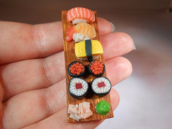 Salmon Roll Sushi Magnets Set of 4 Handmade Polymer Clay Food