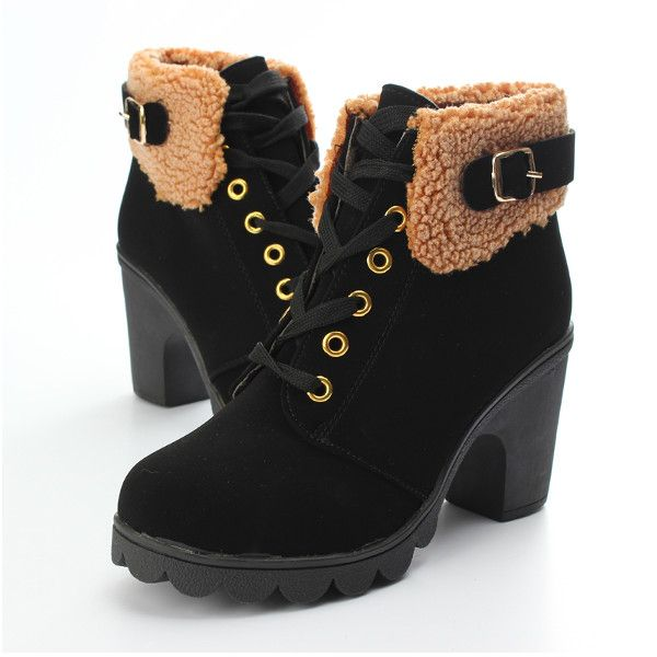 Women's Faux Fur Lace up Chunky Heel Ankle Snow Boots