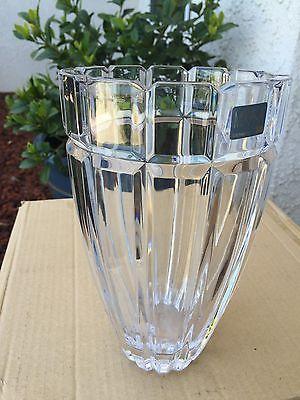Large Mikasa Vase Glass Lead Crystal Stunning Art Deco Hollywood