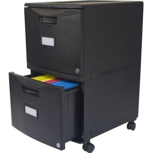 Black 2 Drawer Locking Letter Legal File Cabinet Casters Wheels