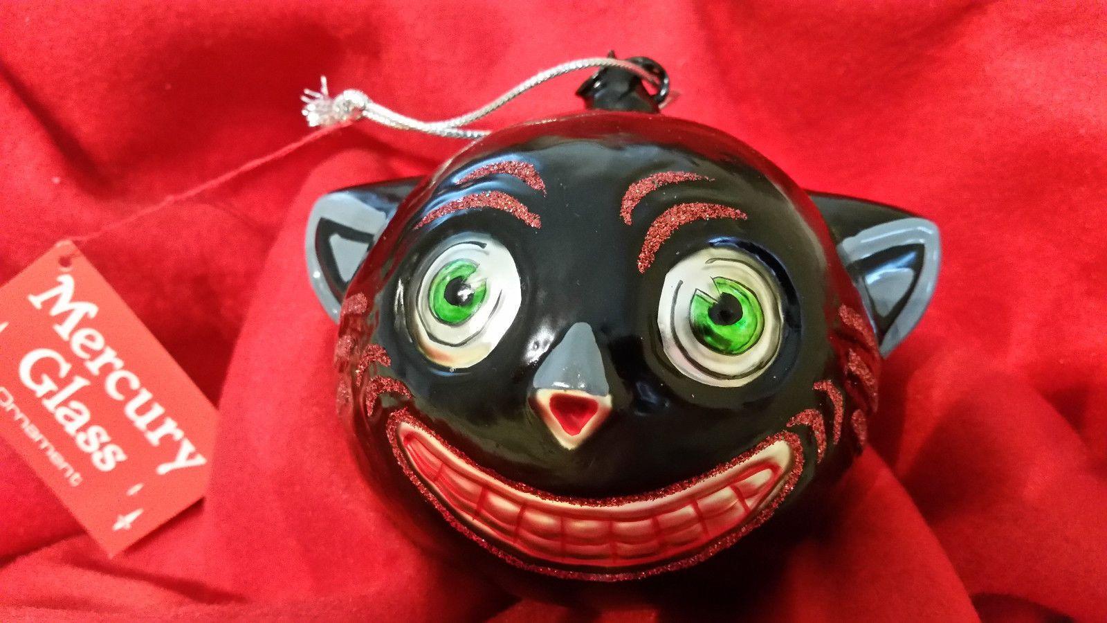 NEW DEPT 56 MERCURY GLASS BLACK CAT ORNAMENT 4'' high