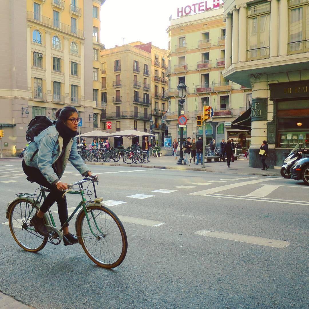 Riding A Bike Via Laietana Barcelona